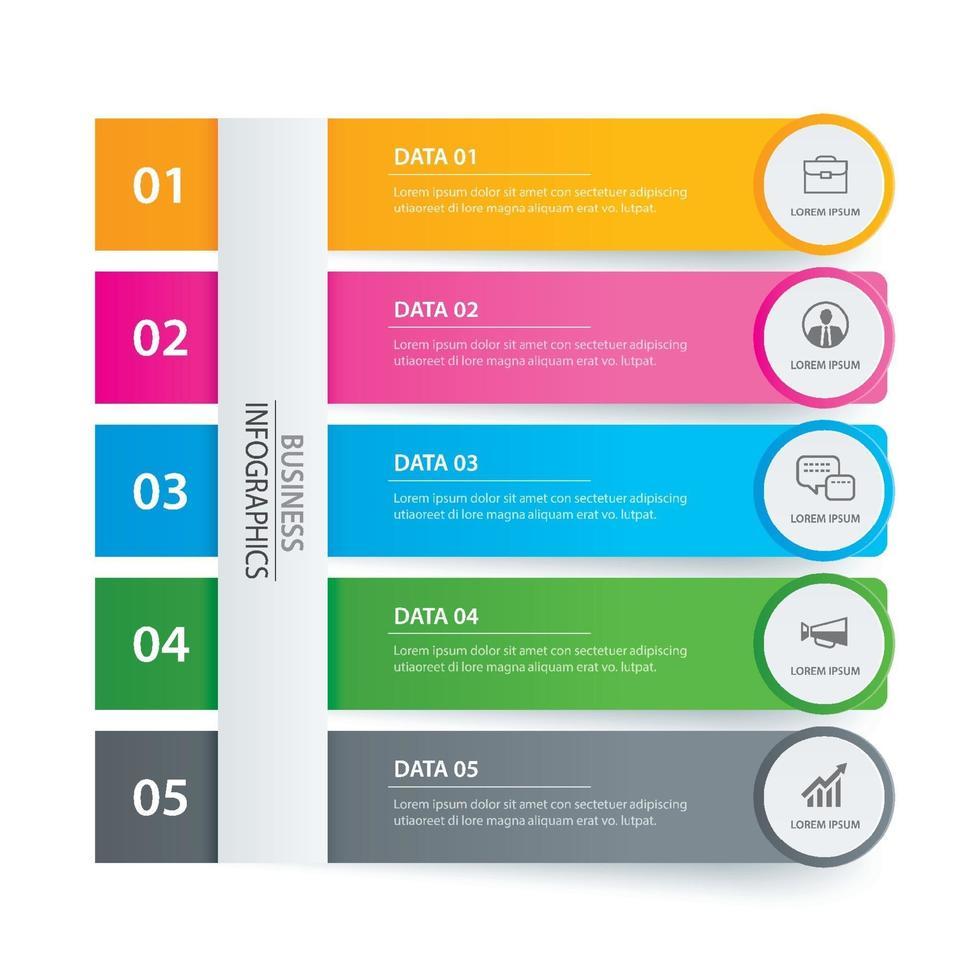 5 Dateninfografiken Registerkarte Papier Indexvorlage. abstrakter Hintergrund der Vektorillustration. kann für Workflow-Layout, Geschäftsschritt, Banner, Webdesign verwendet werden. vektor