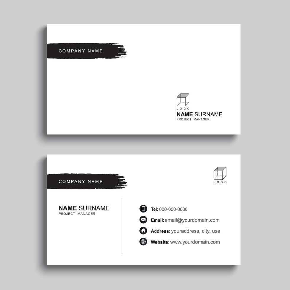 minimal visitkort utskrift mall design. svart färg och enkel ren layout. vektor