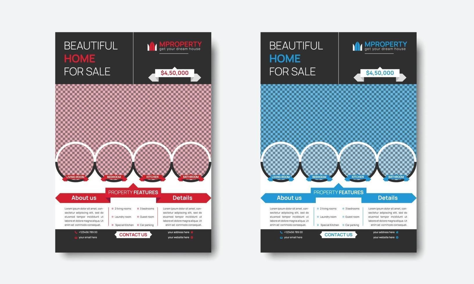kreativa professionella fastighetsfastigheter röd och blå flygblad design vektor