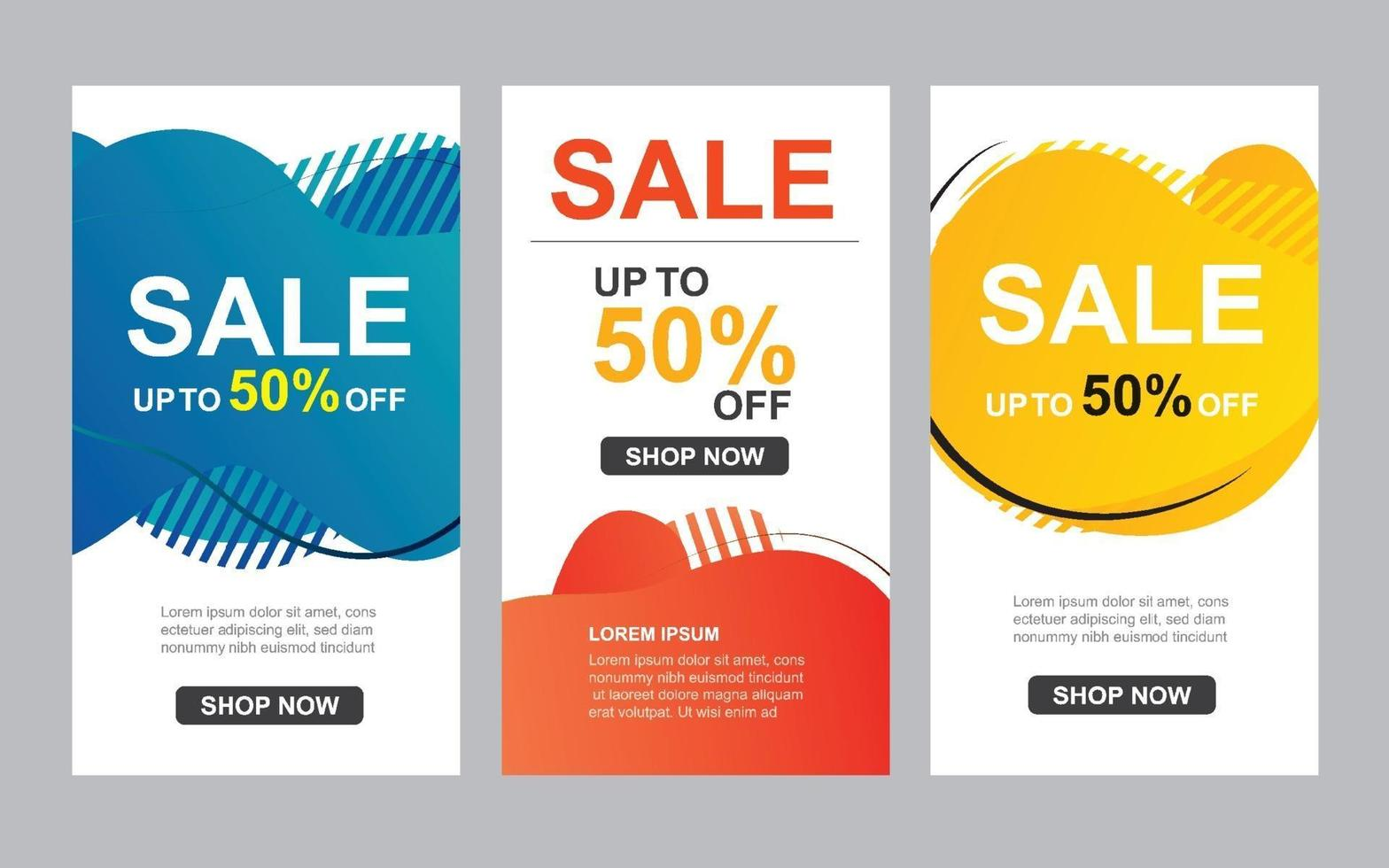 moderne flüssige abstrakte Set zum Verkauf Banner Vorlage. Verwendung für Flyer, Rabatt Sonderangebot Design, Promotion Hintergrund. vektor