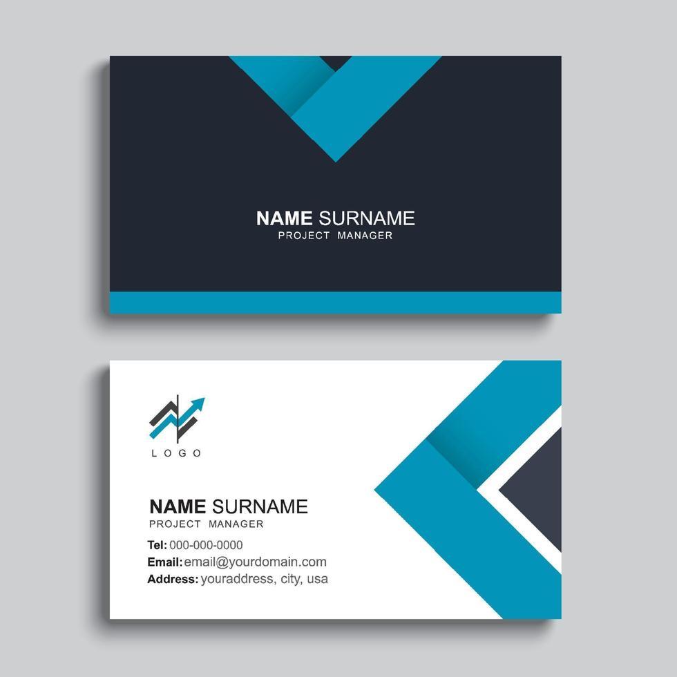 minimales Visitenkarten-Druckschablonendesign. blaue Farbe und einfaches, sauberes Layout. vektor