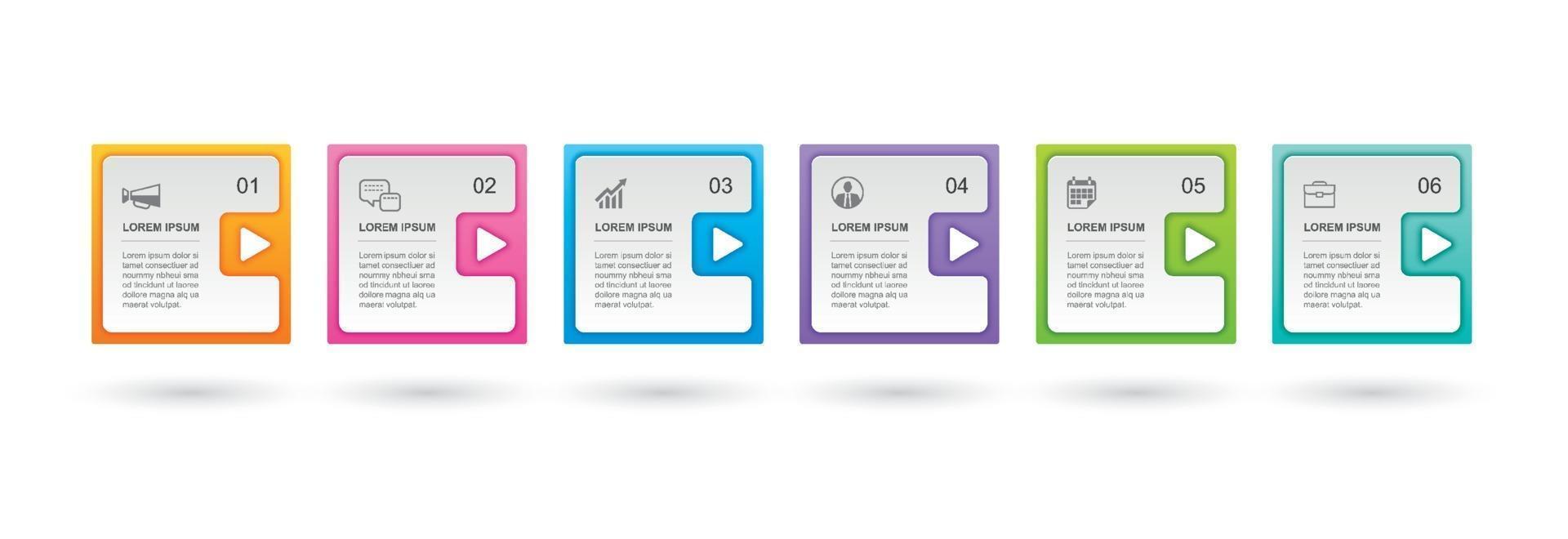 Infografiken Rechteck Papier Index mit 6 Datenvorlage. abstrakter Hintergrund der Vektorillustration. kann für Workflow-Layout, Geschäftsschritt, Banner, Webdesign verwendet werden. vektor