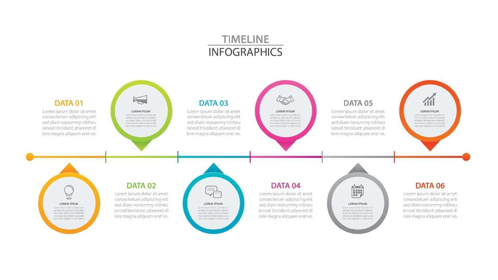 infographics tidslinje cirkel papper med 6 data horisontell mall. vektor illustration abstrakt bakgrund. kan användas för arbetsflödeslayout, affärssteg, broschyr, flygblad, banner, webbdesign.