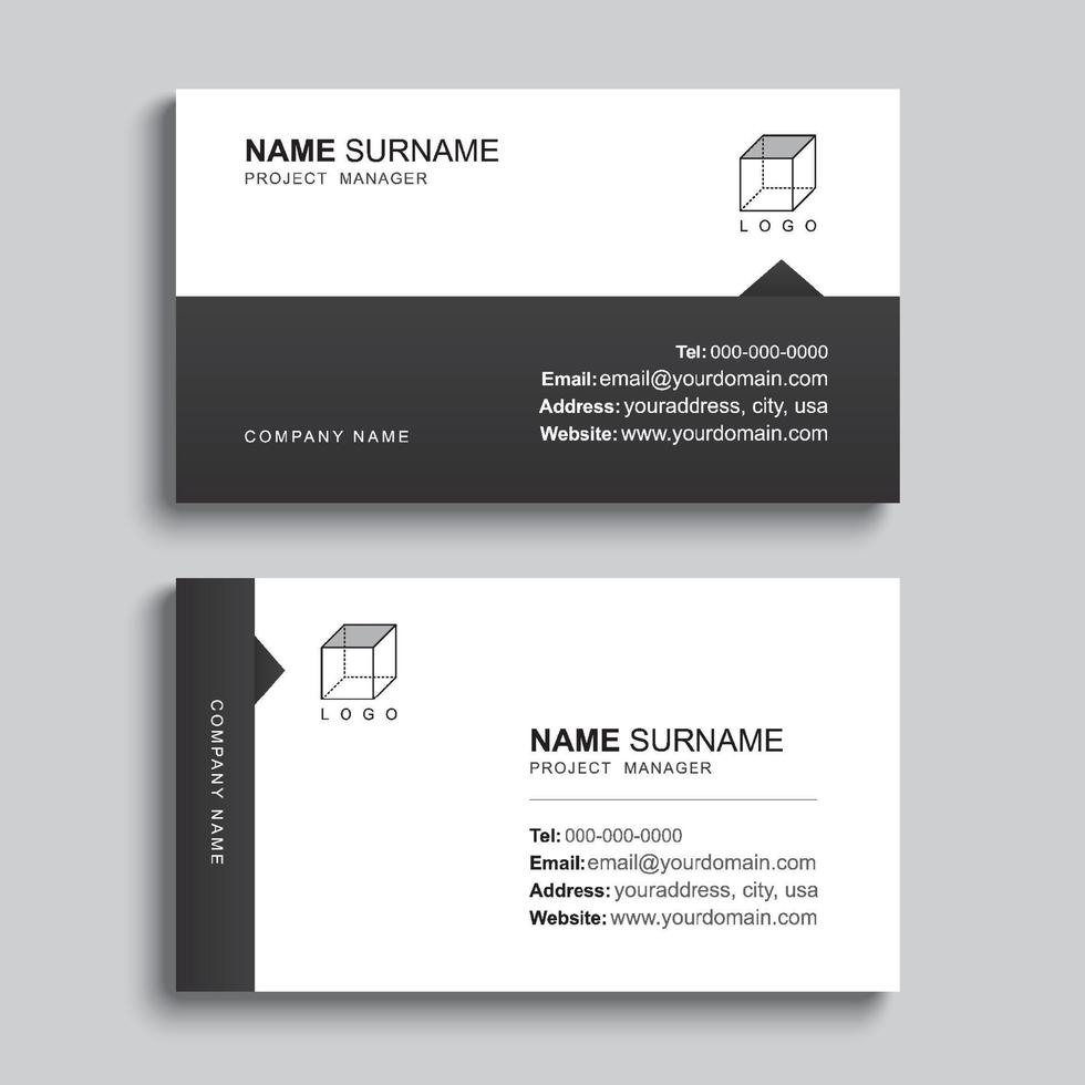 minimales Visitenkarten-Druckschablonendesign. schwarze Papierfarbe und einfaches, sauberes Layout. vektor
