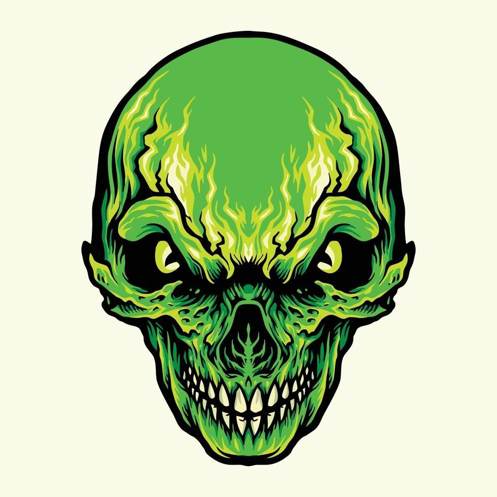 huvud arg grön skalle illustration vektor