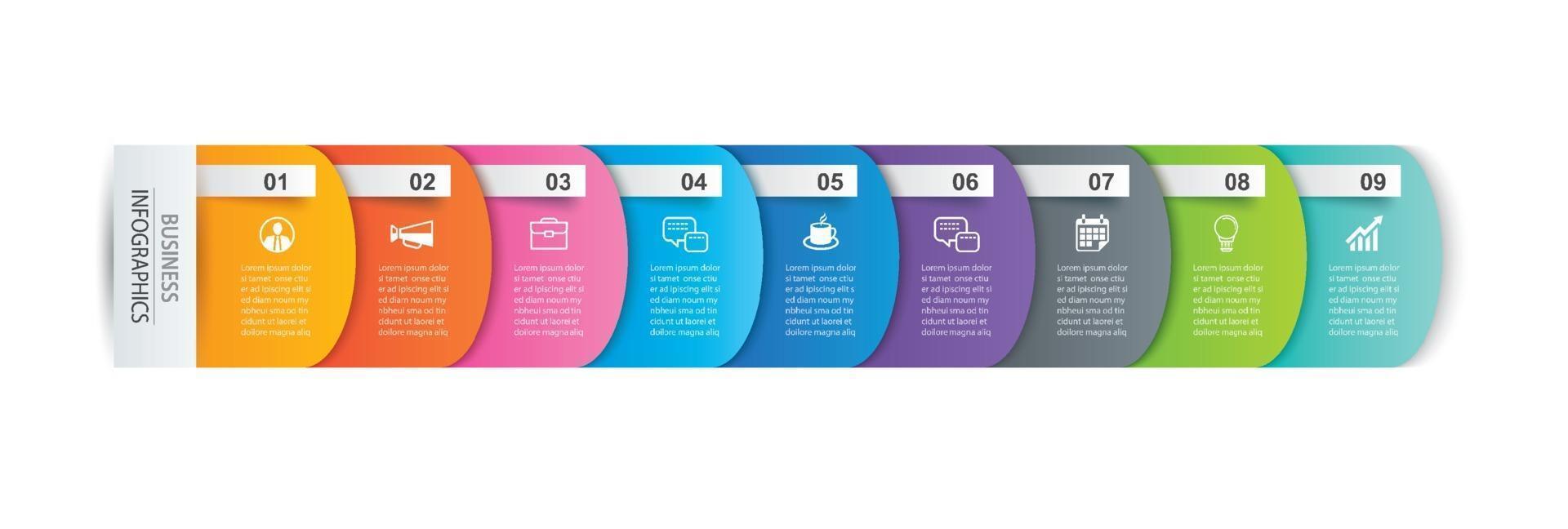 infographics flik pappersindex med 9 datamall. vektor illustration abstrakt bakgrund. kan användas för arbetsflödeslayout, affärssteg, banner, webbdesign.
