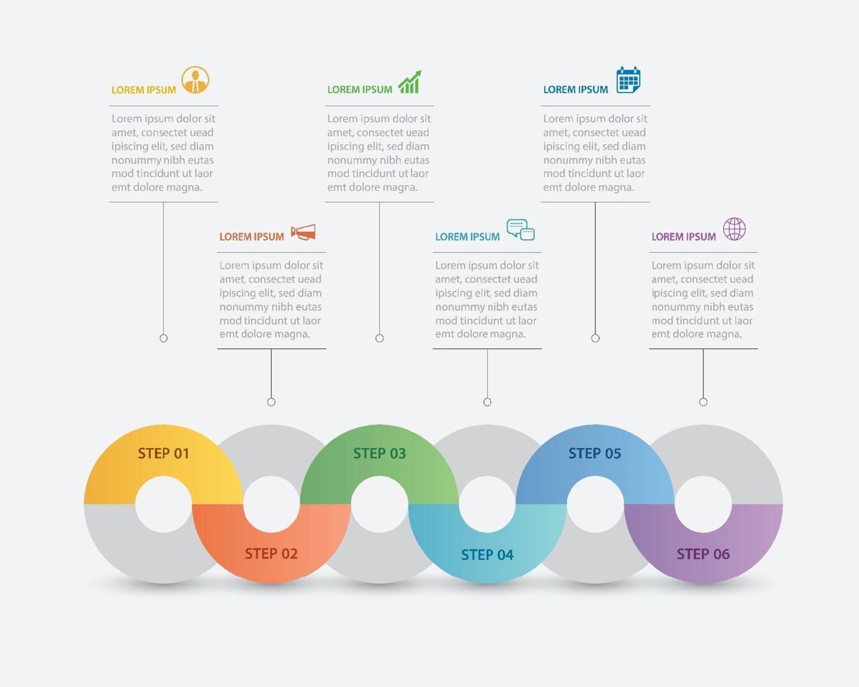 6 Kreis Infografik mit abstrakter Timeline-Vorlage. Präsentationsschritt Business moderner Hintergrund. vektor