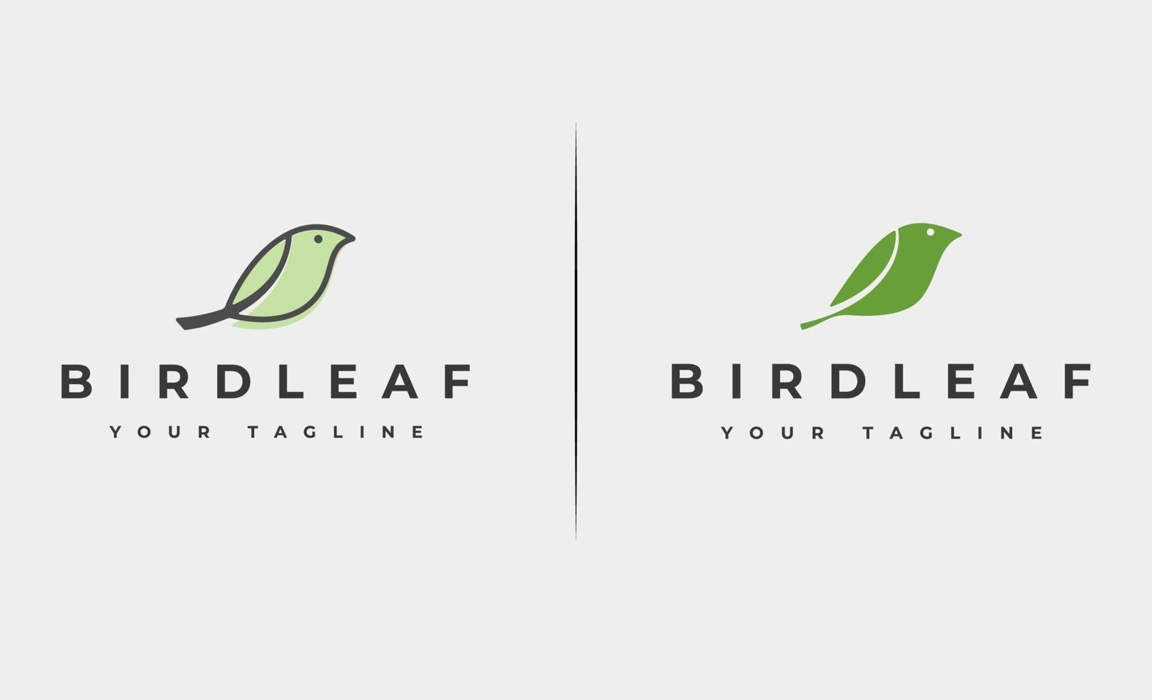 fågelblad logo design vektorillustration vektor