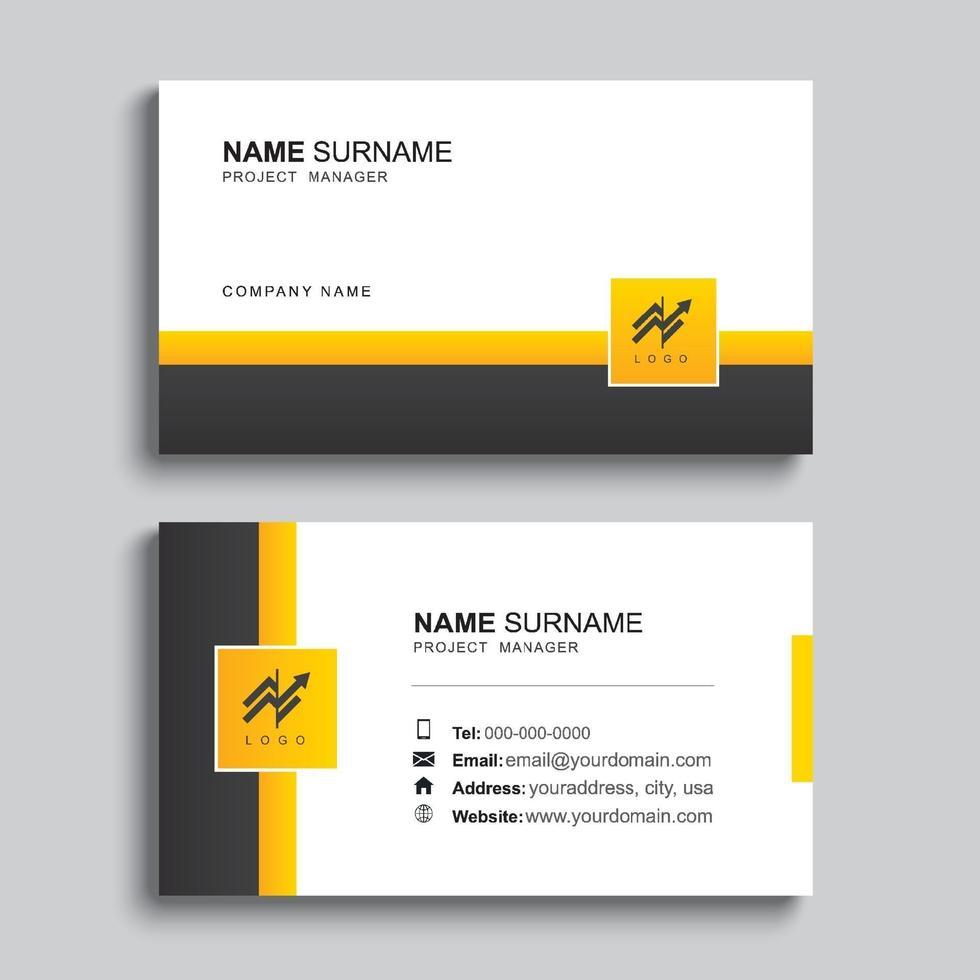 minimal visitkort utskrift mall design. svart och gul färg enkel ren layout. vektor