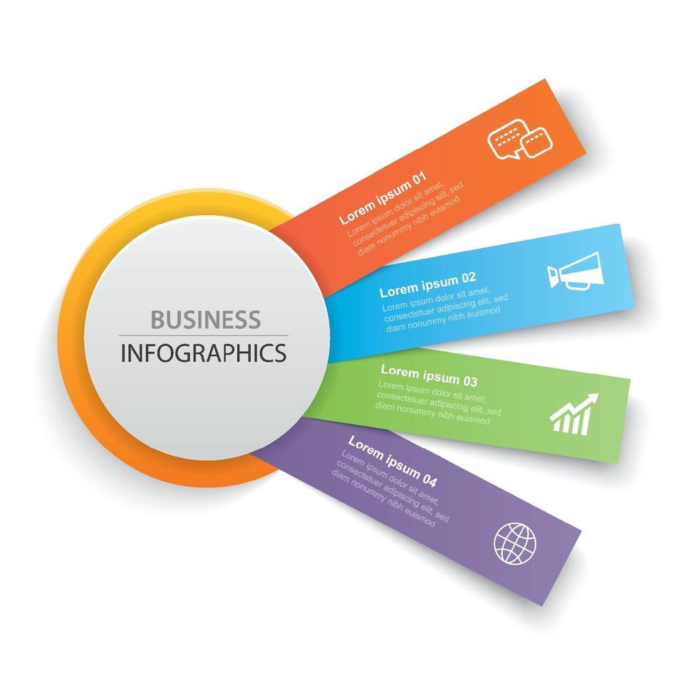Infografiken Kreis Papier mit 4 Datenvorlage. abstrakter Hintergrund der Vektorillustration. kann für Workflow-Layout, Geschäftsschritt, Broschüre, Flyer, Banner, Webdesign verwendet werden. vektor