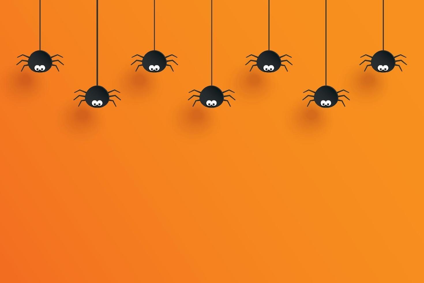 halloween med hängande spindlar för dekoration och orange bakgrundsutrymme för text. vektor