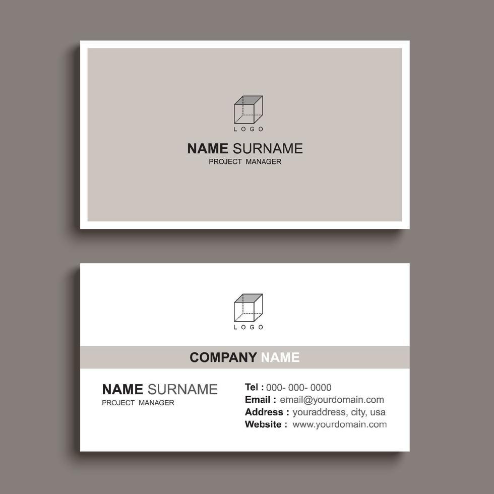 minimal visitkort utskrift mall design. brun pastellfärg och enkel ren layout. vektor
