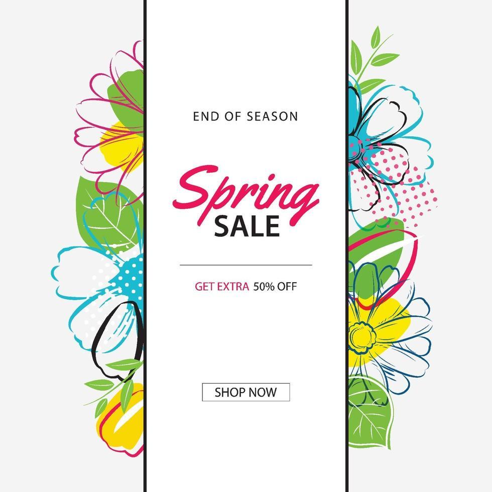 vår försäljning affisch mall med färgglada blommor bakgrund. kan användas för kuponger, tapeter, flygblad, inbjudan, broschyr, kupongrabatt. vektor