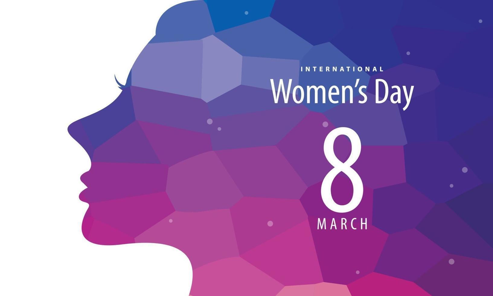internationell kvinnodagsaffisch med kvinnasilhouette vektor