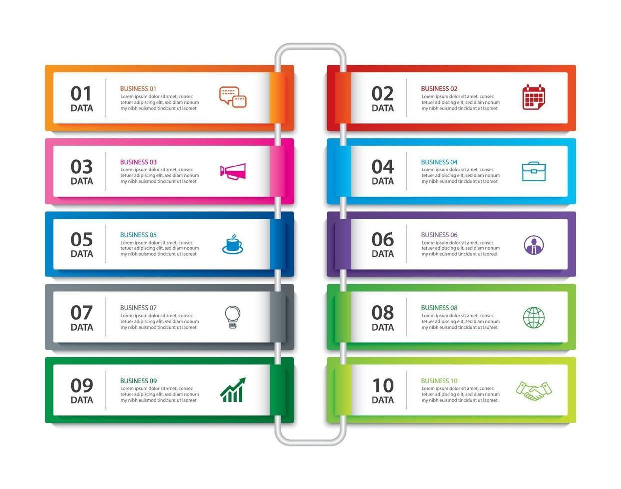infographics flik pappersindex med 10 datamall. vektor illustration abstrakt bakgrund. kan användas för arbetsflödeslayout, affärssteg, banner, webbdesign.