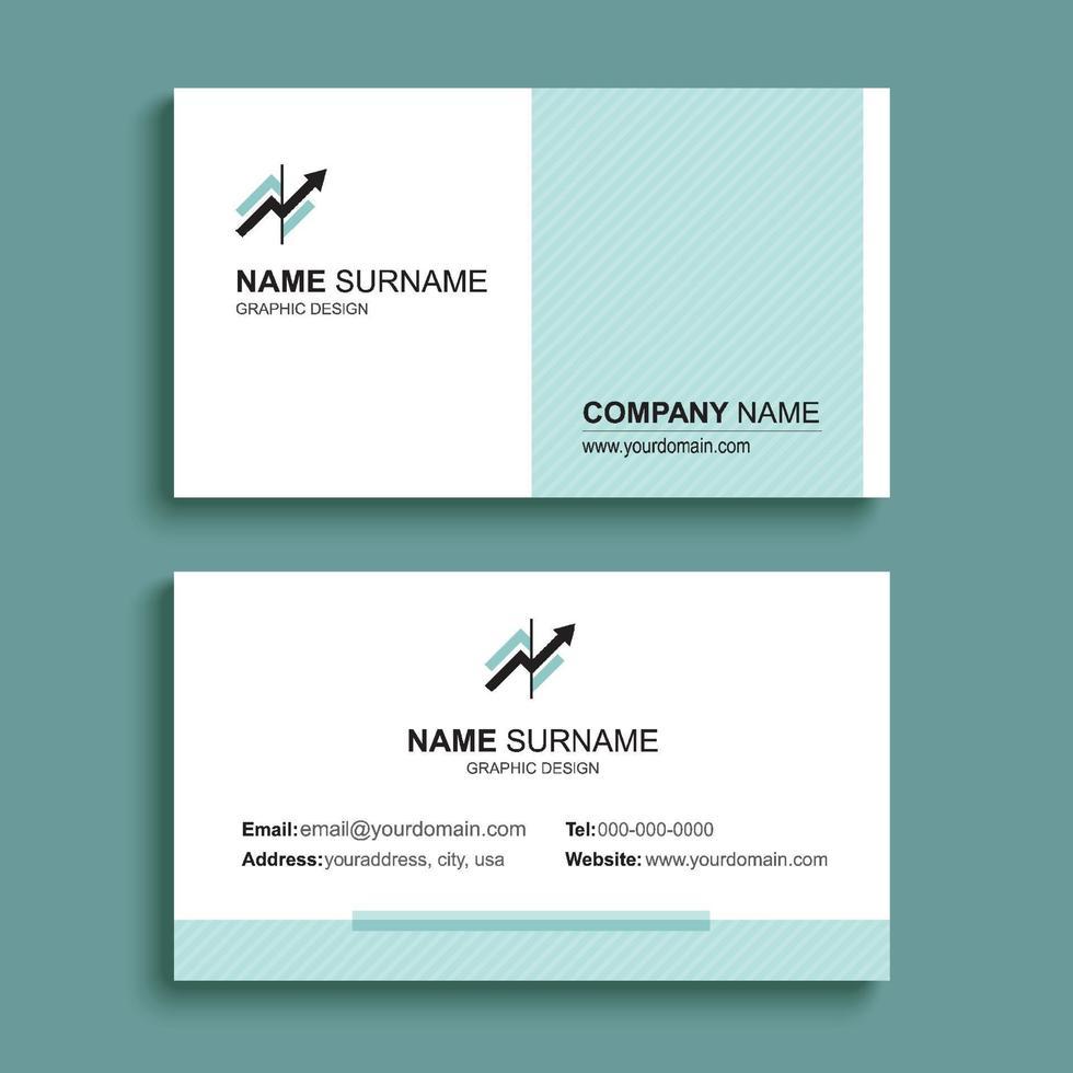 minimales Visitenkarten-Druckschablonendesign. grüne Pastellfarbe und einfaches, sauberes Layout. vektor