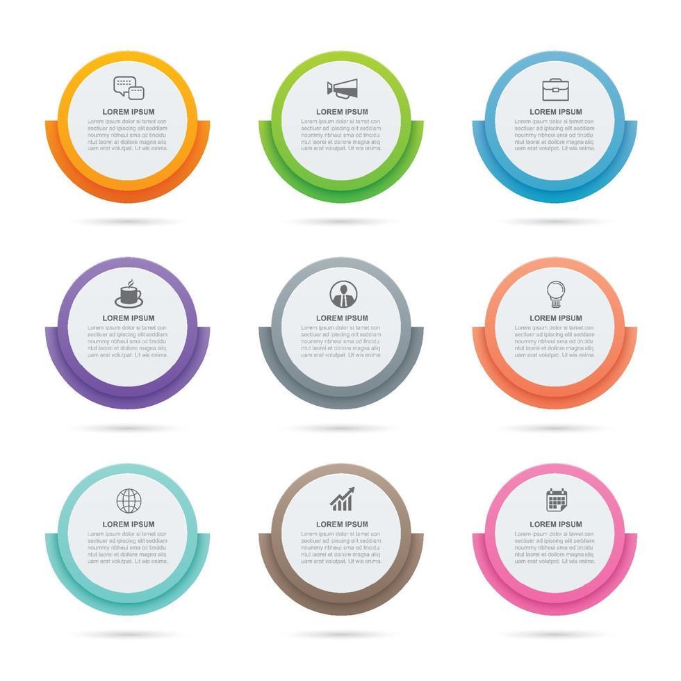 infographics cirkel pappersindex med 9 datamall. vektor illustration abstrakt bakgrund. kan användas för arbetsflödeslayout, affärssteg, banner, webbdesign.