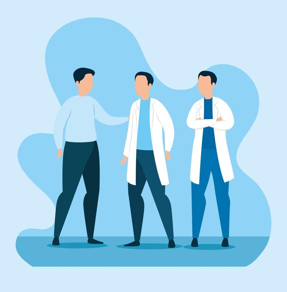 grupp läkare med man avatar karaktär vektor