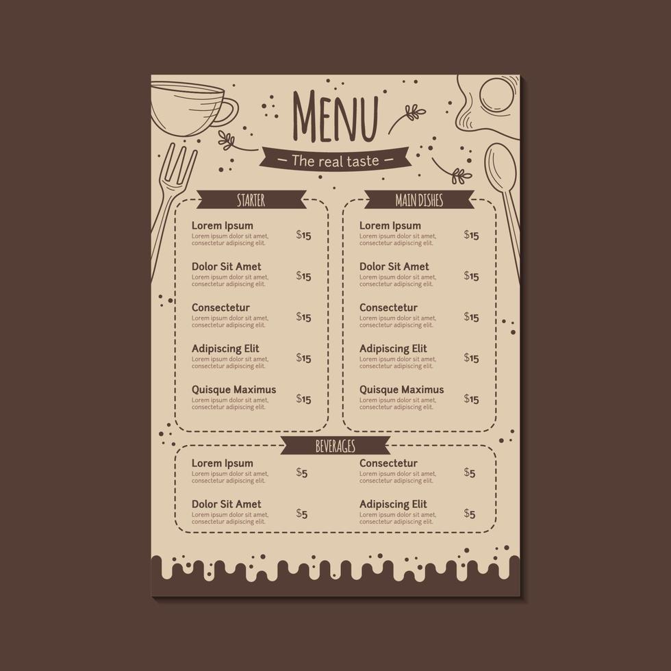 Restaurantmenüvorlage in Braun mit handgezeichnetem Stil vektor