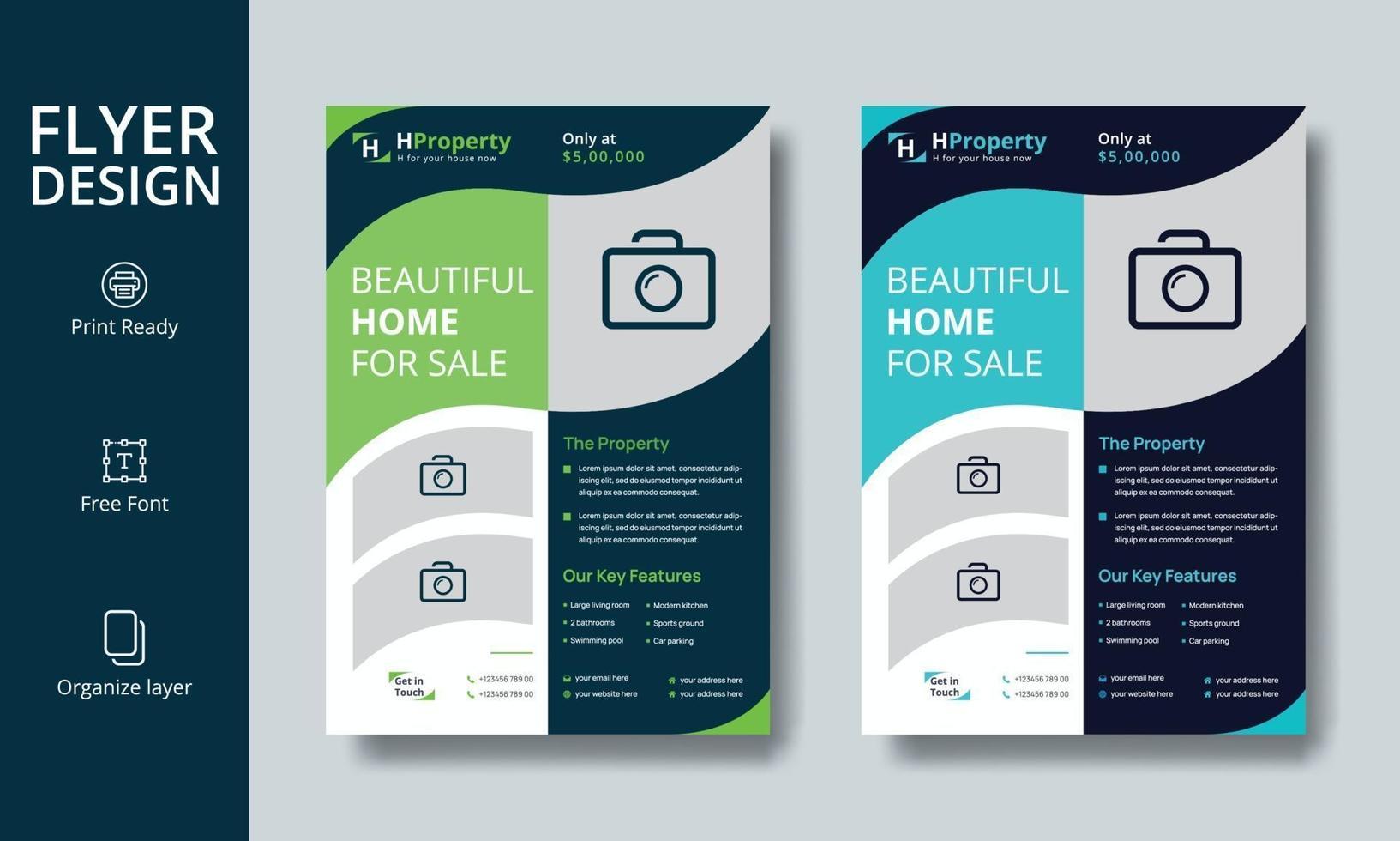 kreative professionelle Immobilien Flyer oder Broschüre Design vektor