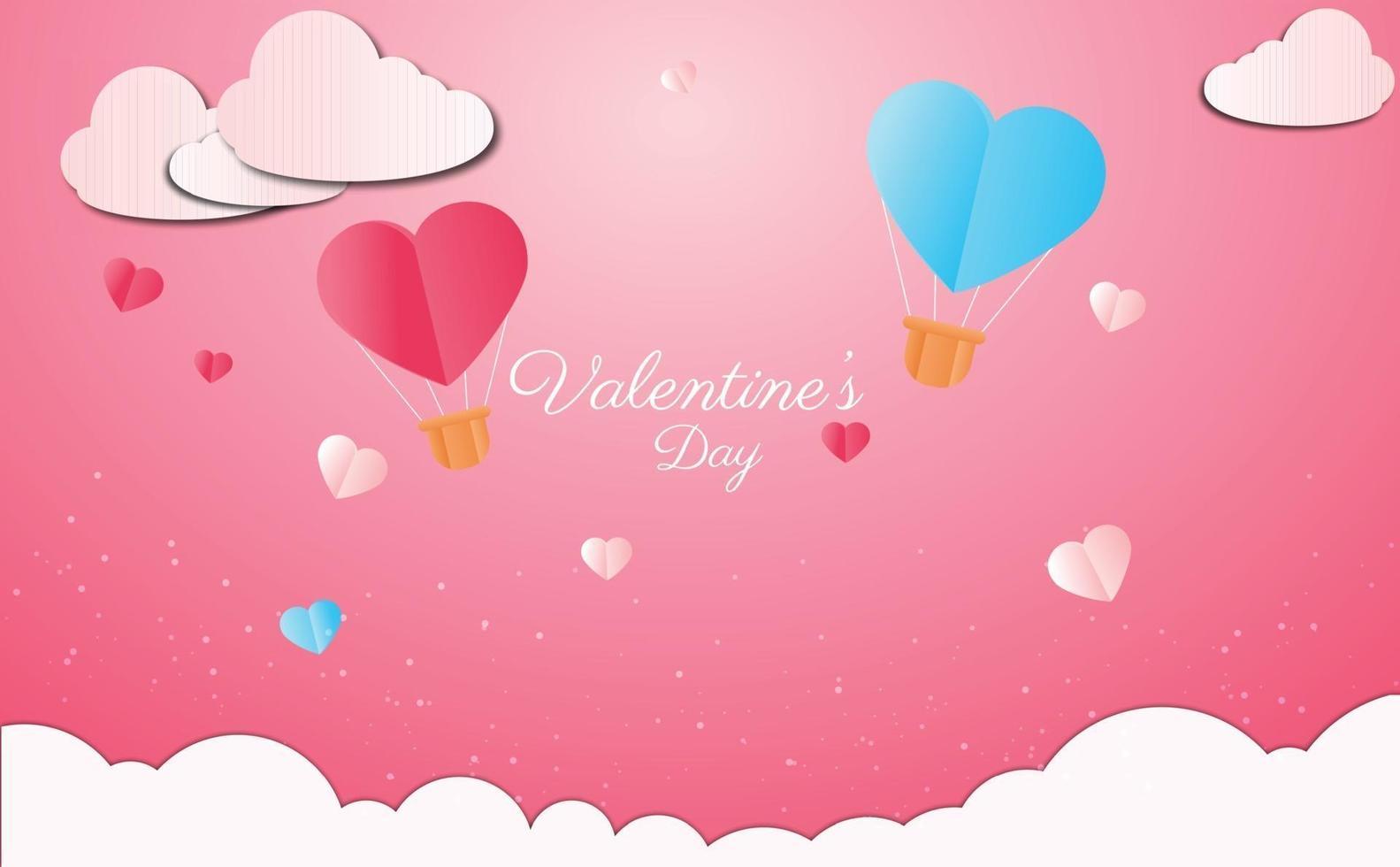 Valentinstag Hintergrundkonzept im Papierstil vektor