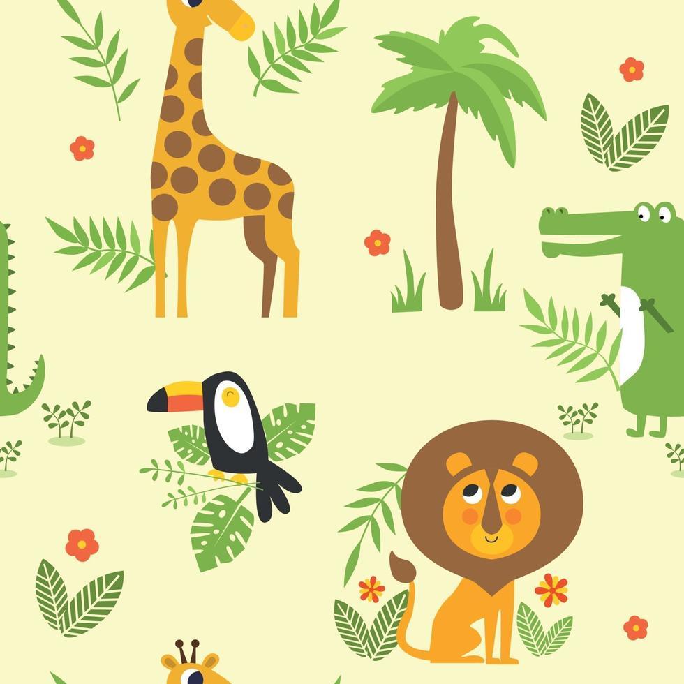 sömlösa barn mönster med djungel djur giraff, lejon, lättja, tukan, krokodil och palm. vektor illustration.