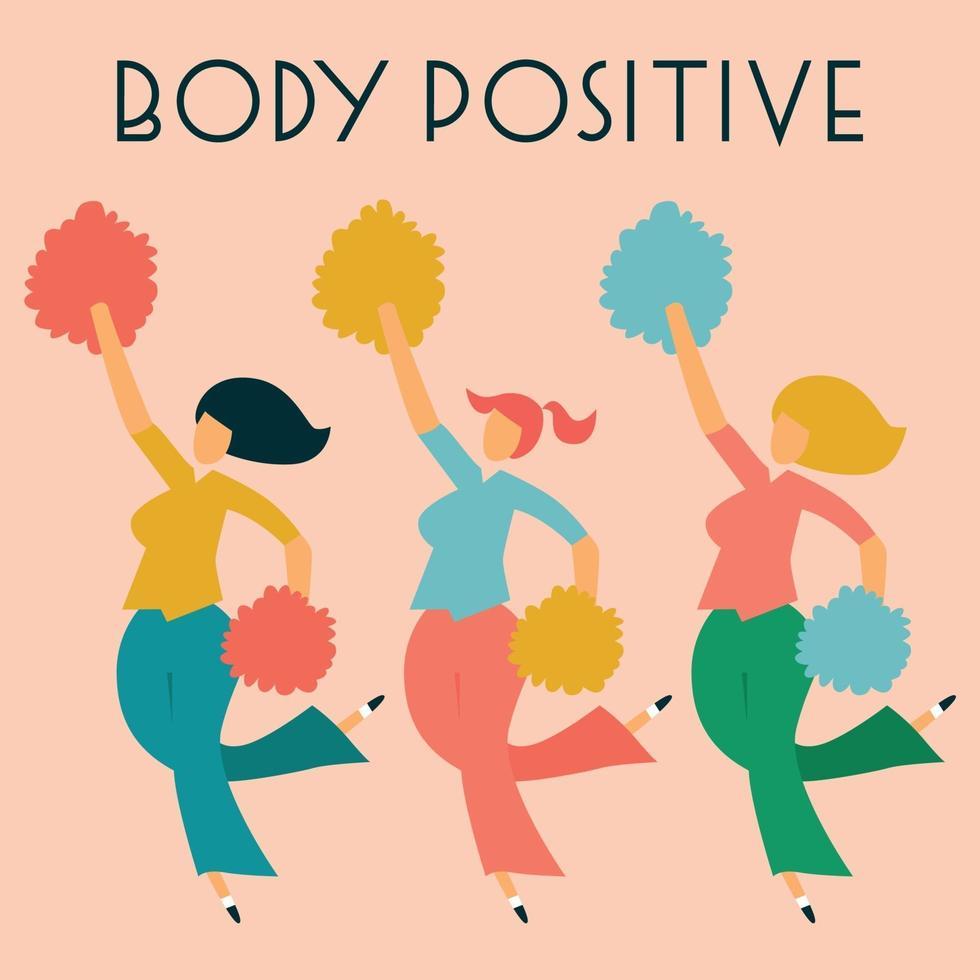 kroppspositivt kort med tre dansande damer. vektor illustration.