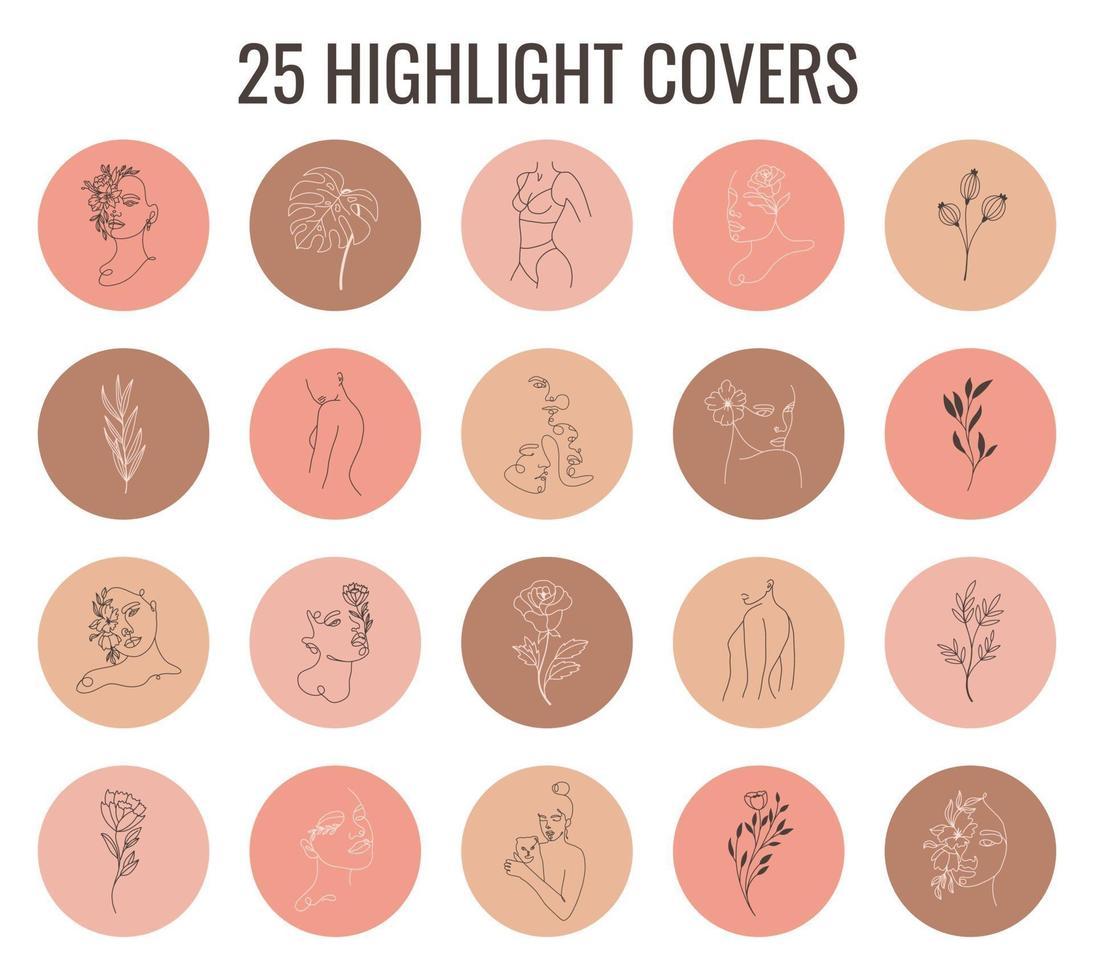 uppsättning pastellfärger vektor höjdpunkter täcker. abstrakta bakgrunder, former, linjer, fläckar, prickar, klotterobjekt med linjära blommor och kvinnans ansikte. runda ikoner för berättelser om sociala medier.