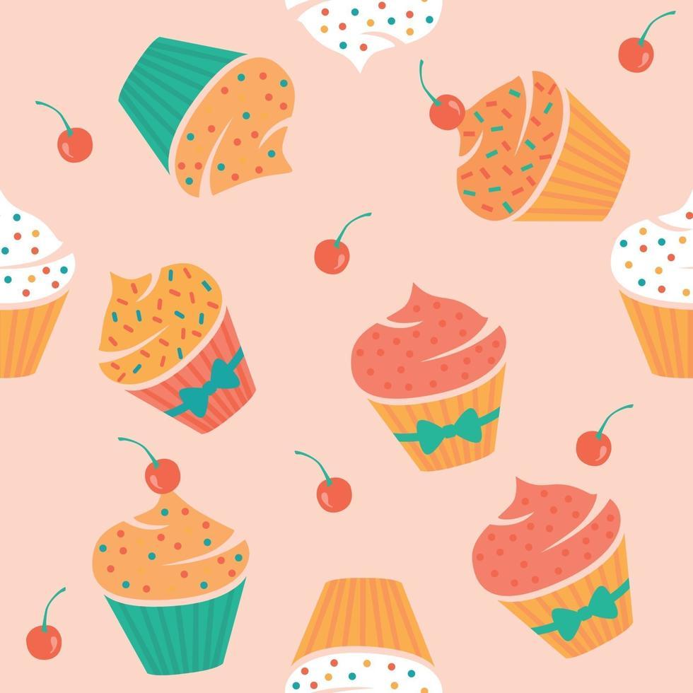 sömlösa mönster med muffins och körsbär. vektor illustration.