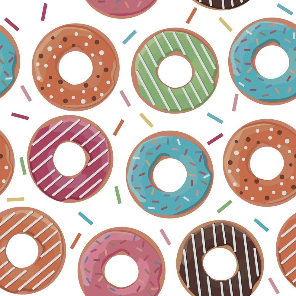 nahtloses Muster mit bunten Donuts auf weißem Hintergrund. Vektorillustration. vektor