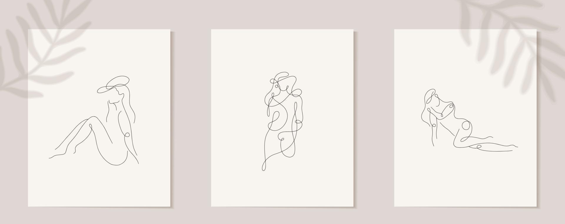 ställa in linjär kvinnfigur. kontinuerlig linjär silhuett av kvinnligt ansikte. disposition hand dras av avatarer flickor. linjär glamourlogotyp i minimal stil för skönhetssalong, makeupartist, stylist vektor