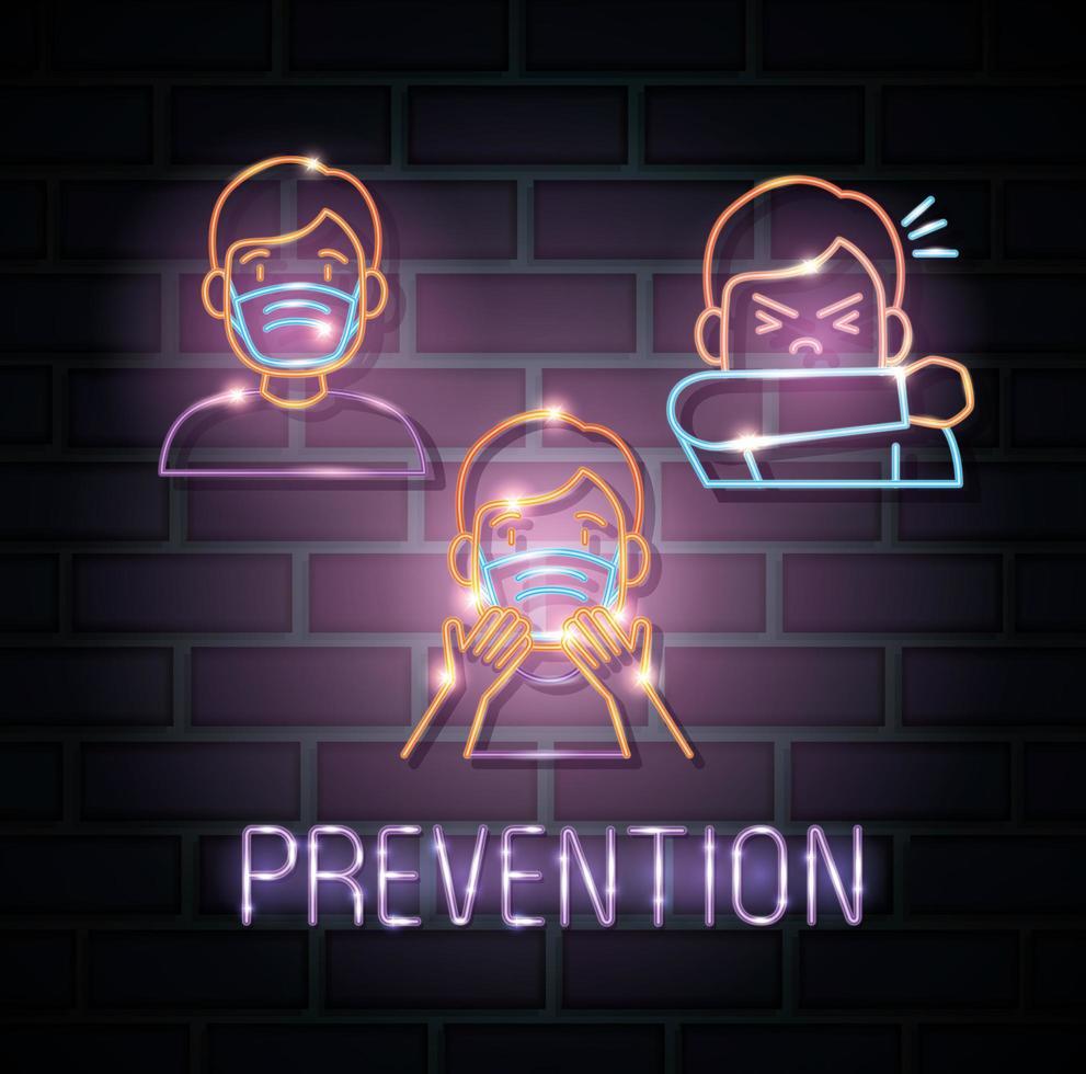Neonlicht-Coronavirus mit Präventionssymbolen vektor