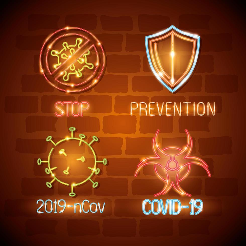 neonljus coronavirus ikonuppsättning vektor