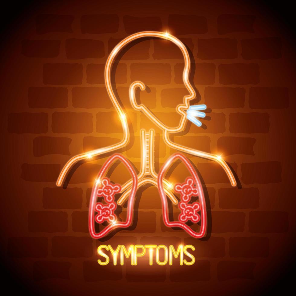 neonljus koronavirus i kroppen med infekterade lungor vektor