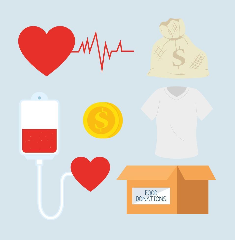 uppsättning välgörenhets- och donationsikoner vektor