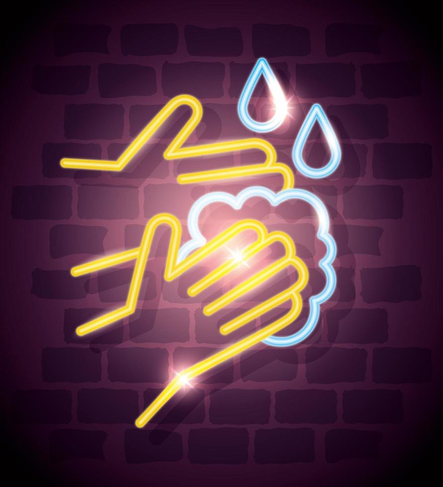 Neonlicht-Coronavirus-Symbol mit Händewaschen vektor