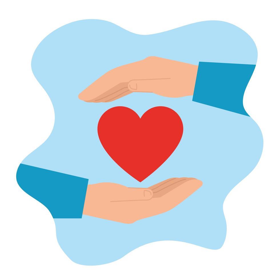 Hände mit Herzsymbol für wohltätige Zwecke vektor