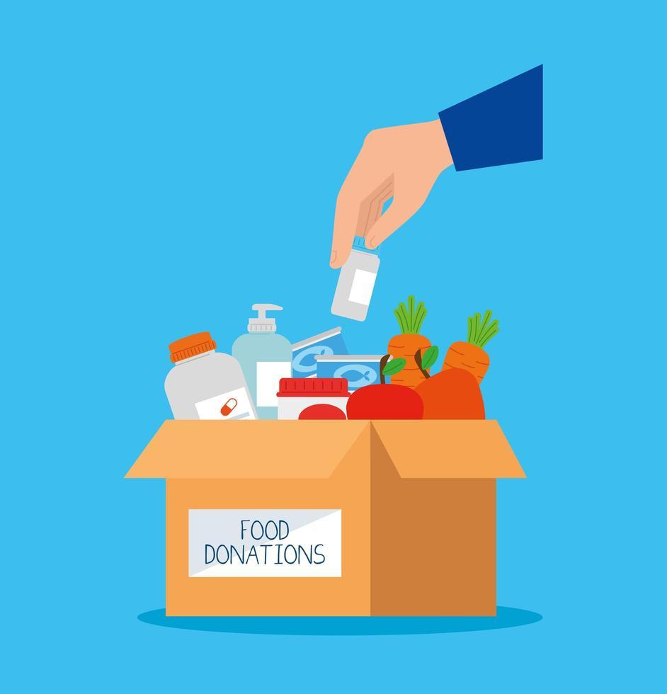 välgörenhetsdonationslåda med mat och hand vektor