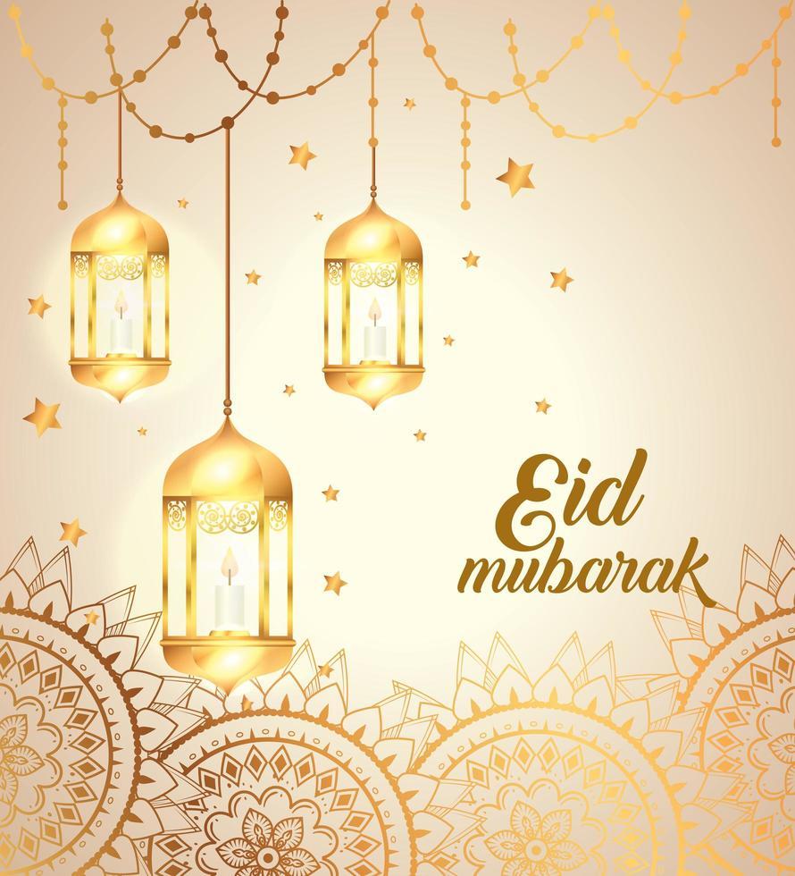 eid mubarak affisch med lyktor hängande och mandalas vektor