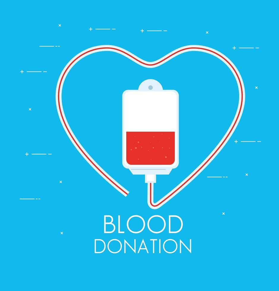 påse med blod och donation i en blå bakgrund vektor
