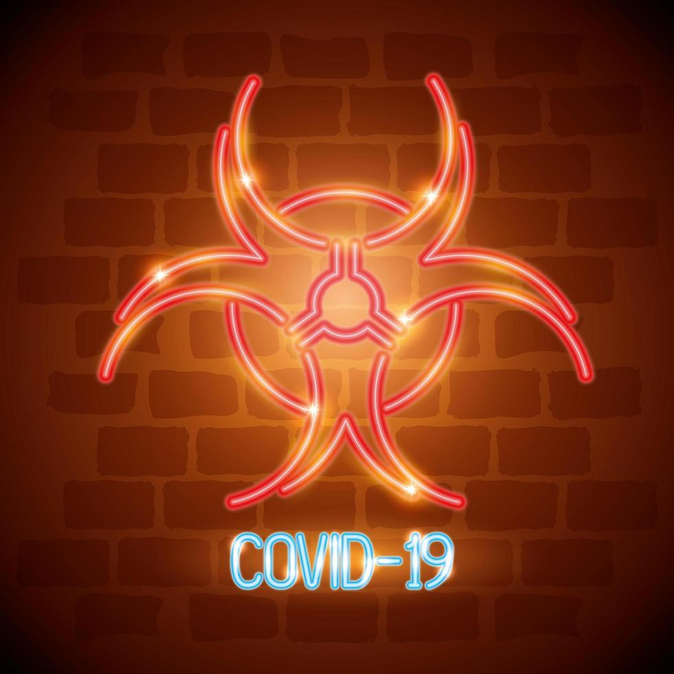 Neonlicht-Coronavirus-Symbol mit Biohazard-Symbol vektor