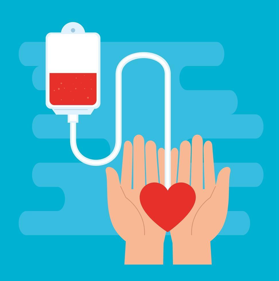 Hand mit Beutel mit gespendetem Blut vektor