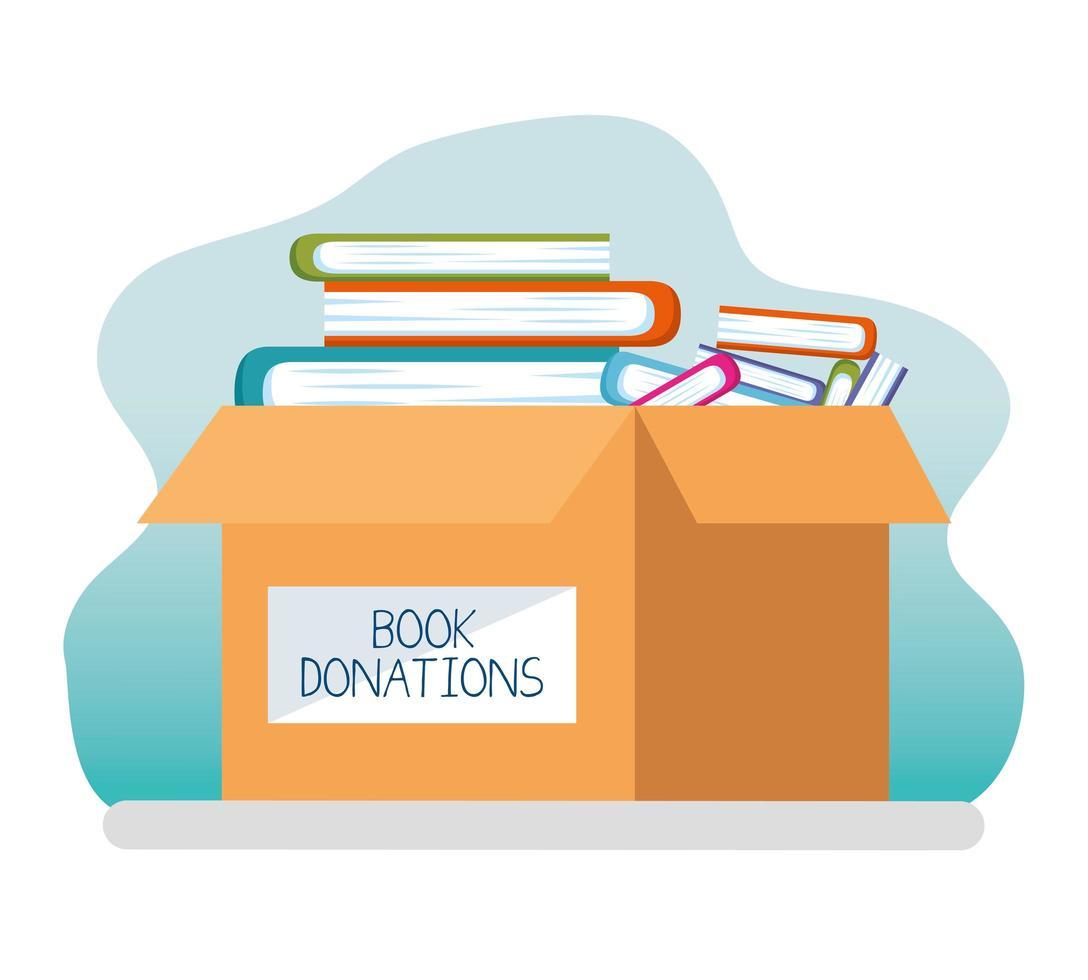 välgörenhets- och donationslåda med böcker vektor