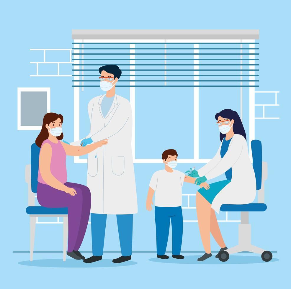 läkare som vaccinerar en familj i konsultrummet vektor