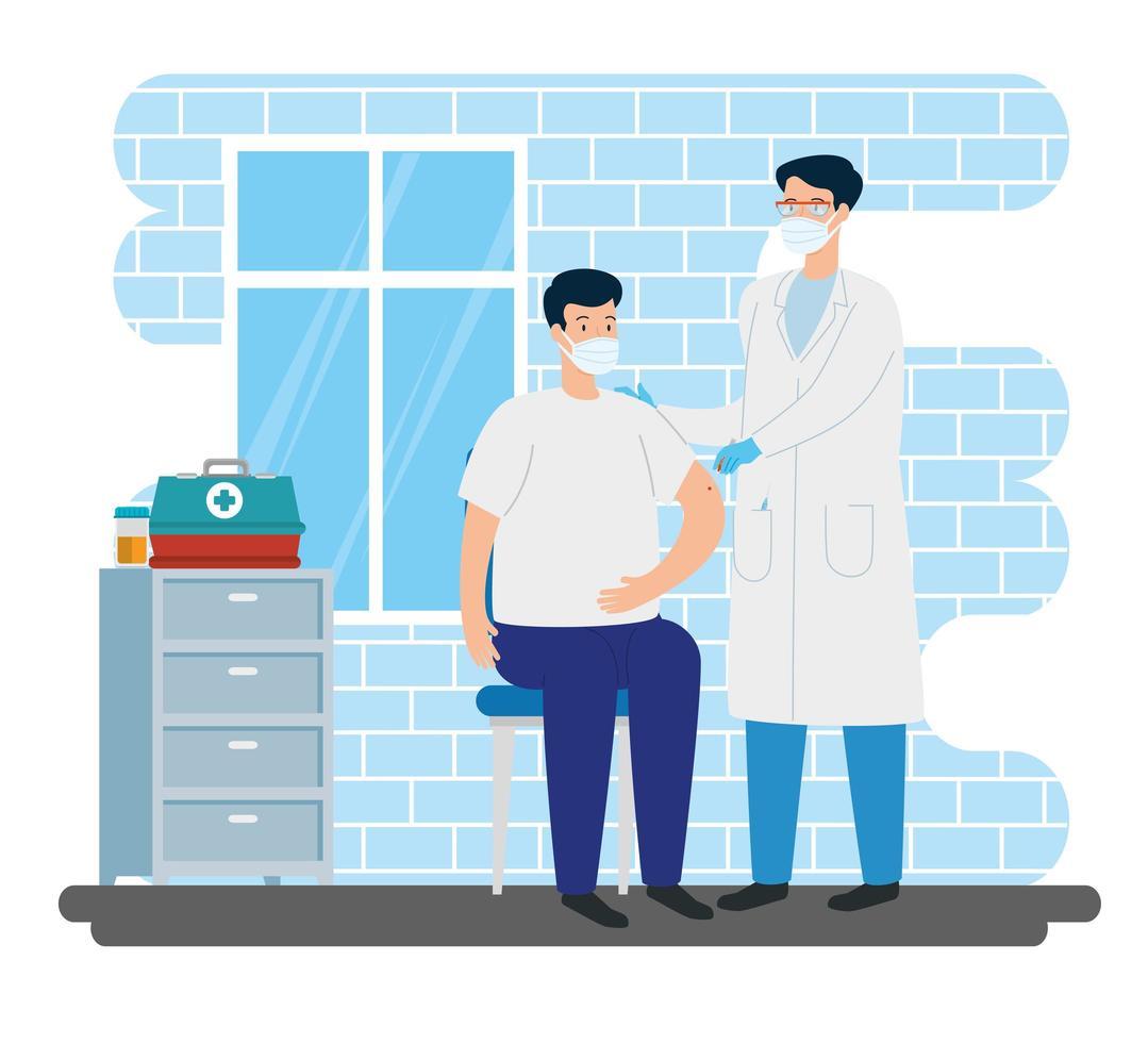 läkare som vaccinerar en man i konsultrummet vektor
