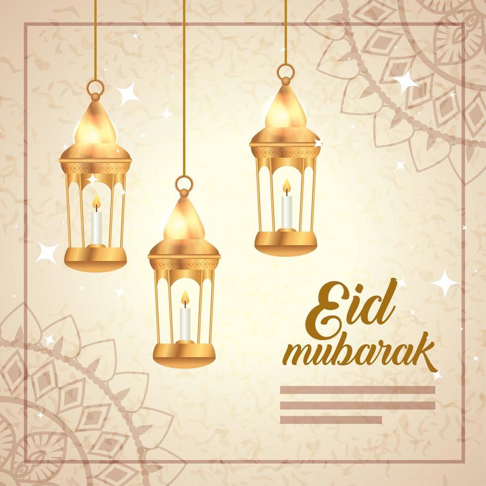 Eid Mubarak Poster mit hängenden Laternen und Dekoration vektor