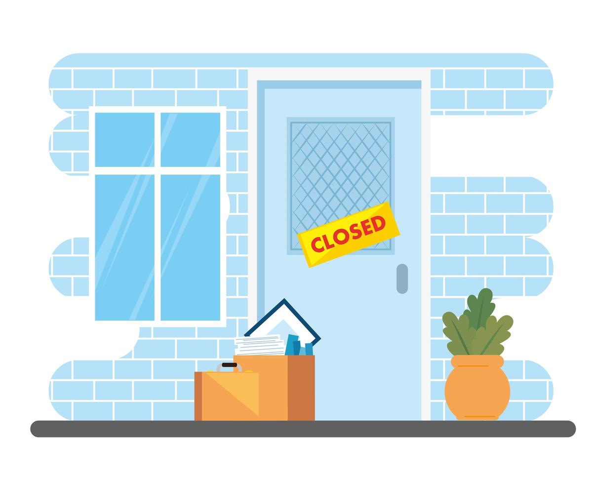 fasadföretag stängt med lådor och föremål vektor