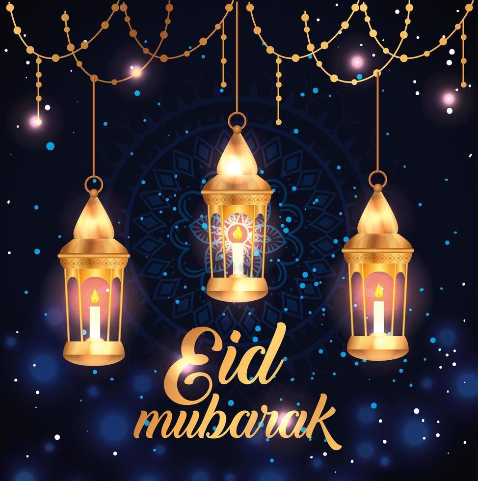 eid mubarak affisch med lyktor hängande och dekoration vektor