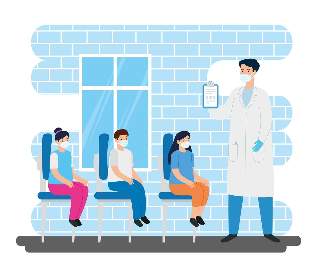 Arzt mit Kindern im Sprechzimmer vektor