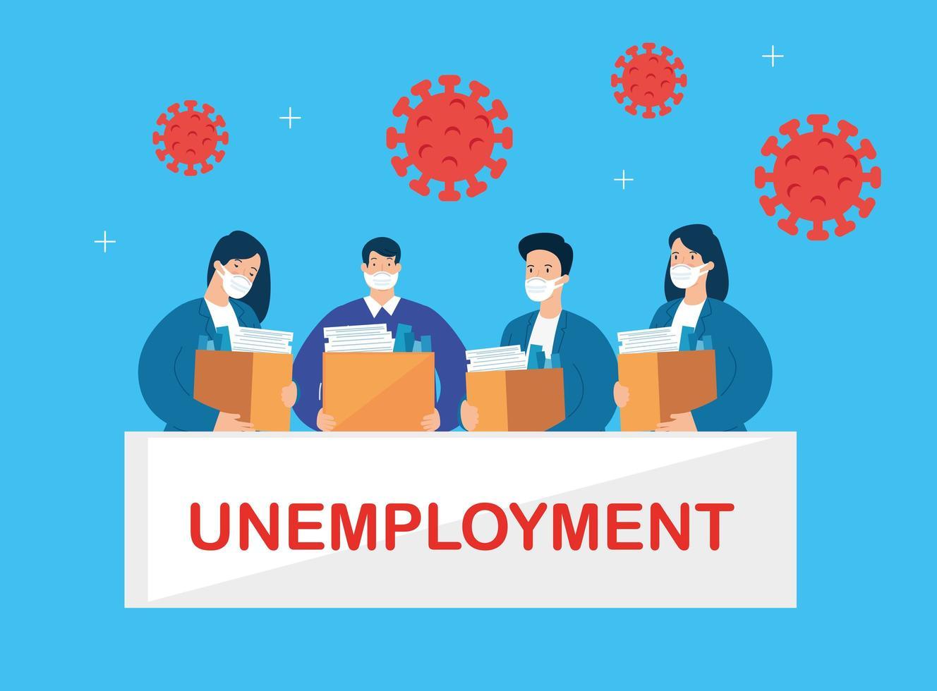 affärsmän arbetslösa på grund av koronaviruspandemi vektor